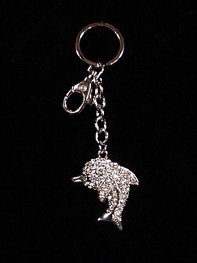 Crystal Diamond DOLPHIN KEYCHAIN Key Fob Ring FREESHIP