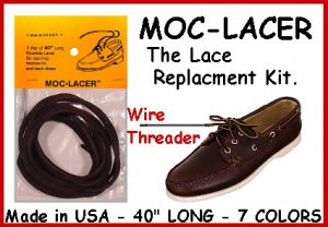 Dark BRN. Mock-Lacer Leather LACES for Boat, Deck Shoes