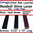 "(2) BLK Vintage BASEBALL GLOVE Leather lace 3/16""X72"""