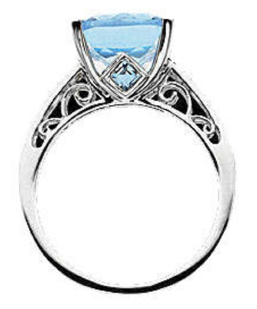 14K white gold 7 ct Swiss Topaz & Diamond Ring NEW