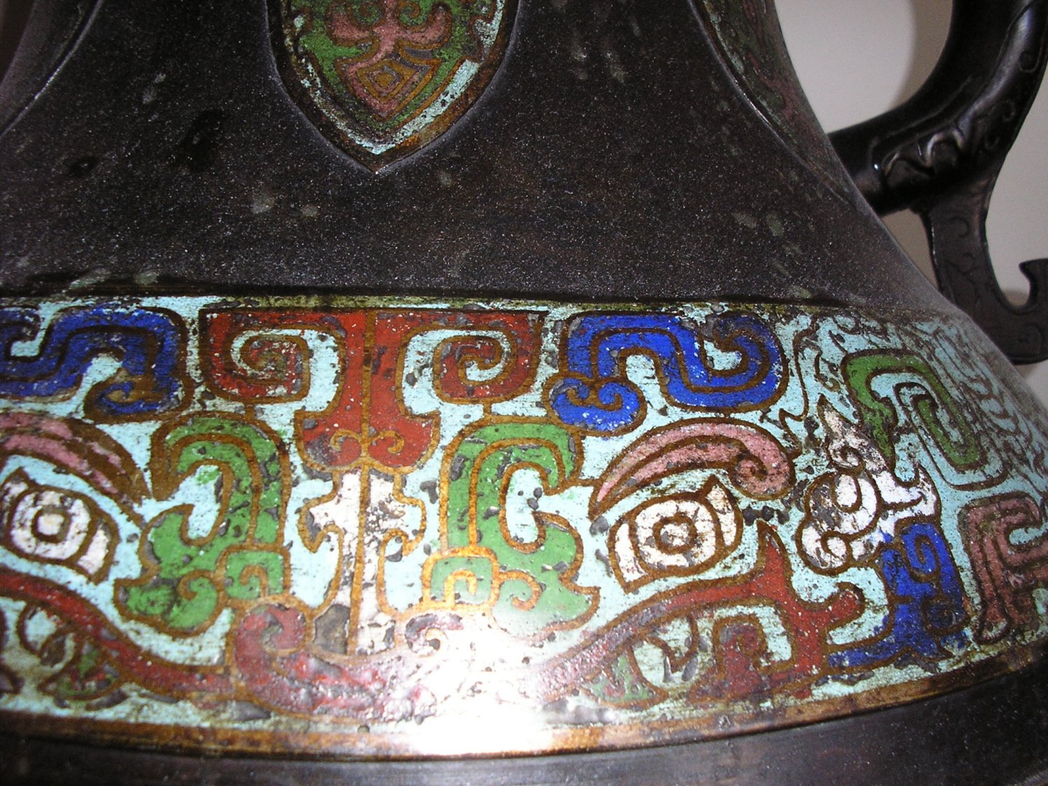 Antique Large Heavy Bronze CHAMPLEVE CLOISONNE 36.2 LBS