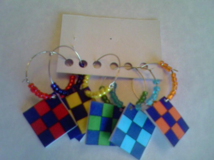 Quilt block wine charms