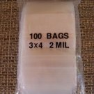 PLASTIC BAG 3x4 zip lock white block small poly 100