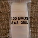 PLASTIC BAG 2x3 zip lock white block small poly 100