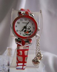 Geneva Childrena Red Band Charm Watch with Bear
