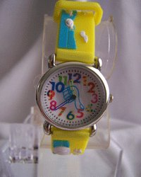 Childrens Watch With A Yellow Rubber Band
