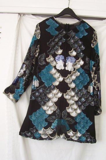Women's Silk Evening Tunic W/Fans/Floral/Sequins/Bugle Beads
