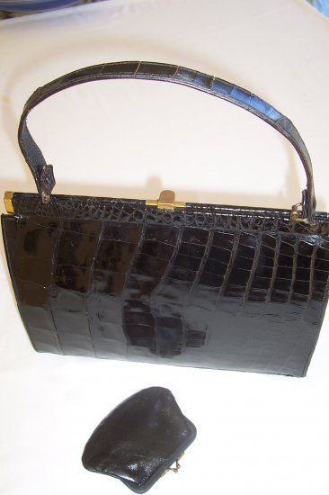 Luxurious Women's Black Alligator Handbag