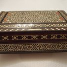 Wood Jewelry Box W/ Ivory, Turqouise, Mother Of Pearl Inlay