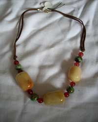 Necklace With Agathes, Carnelian And Black Onyx