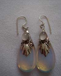 Sterling Silver Moonstone And Turquoise Drop Earrings