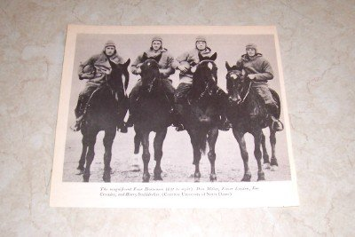 UNIVERSITY OF NOTRE DAME FOUR HORSEMEN FOOTBALL PHOTO
