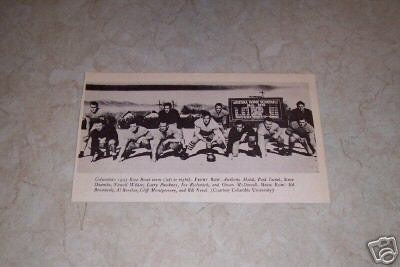 COLUMBIA UNIVERSITY 1933 ROSE BOWL FOOTBALL TEAM PHOTO