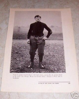 JIM THORPE GREATEST FOOTBALL PLAYER PHOTO