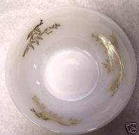 Fire King Four Dessert Bowls White Gold Leaf Bamboo