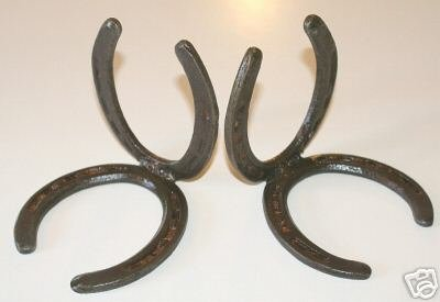 Vintage Iron Horseshoe Bookend Set Dare Blue