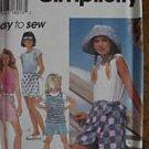 Simplicity Pattern 9553 Top Shorts Skirt Girls 7-8-10