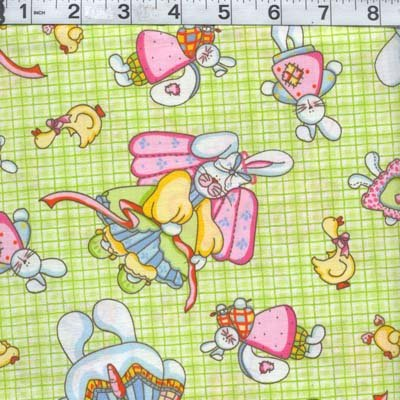 EASTER BUNNY DUCK GREEN CHECK FABRIC OOP