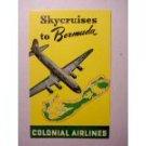 Colonial Airlines Bermuda Ticket Sticker 1953