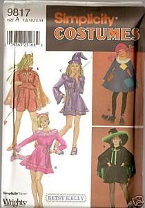 Simplicity 9817 DEVIL WITCH SORCERESS COSTUMES Girls 7-14