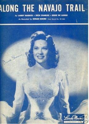 Along the Navajo Trail Dinah Shore Sheet Music 1954