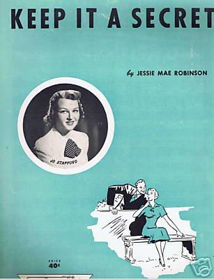 KEEP IT A SECRET SHEET MUSIC J ROBINSON JO STAFFORD 1952