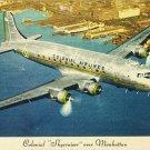Colonial Airlines Skycruiser Over Manhattan Linen Postcard 1950s