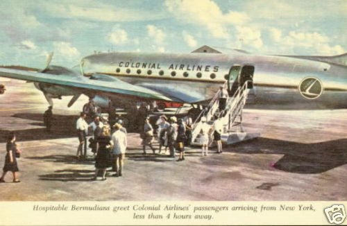Colonial Airlines Bermuda Linen Postcard 1950s