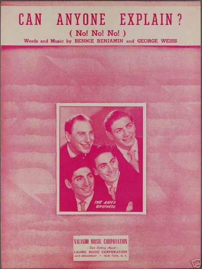 Can Anyone Explain Sheet Music Ames Brothers 1950
