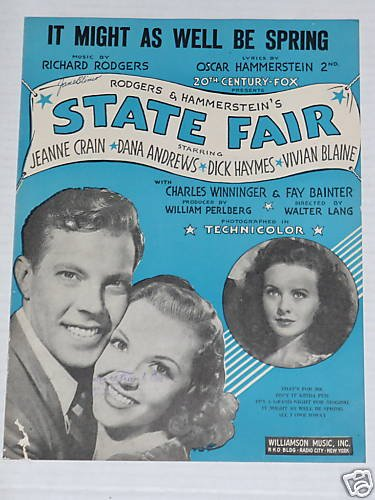 It Might As Well Be Spring State Fair Sheet Music 1955