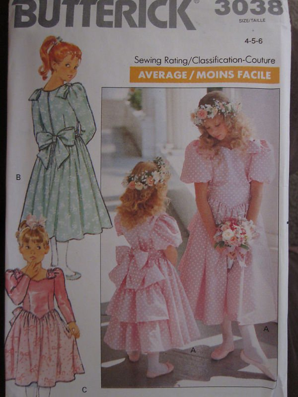 Butterick 3038 Formal Dress Girls 7-8-10 1988