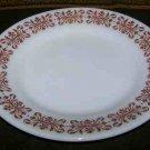 PYREX Milk Glass Copper Filigree Green Stripe 2 Plates