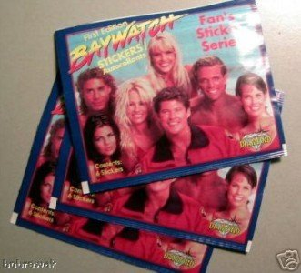 1996 BAYWATCH 10 Sticker Packs Pam Anderson David Hass�elhoff