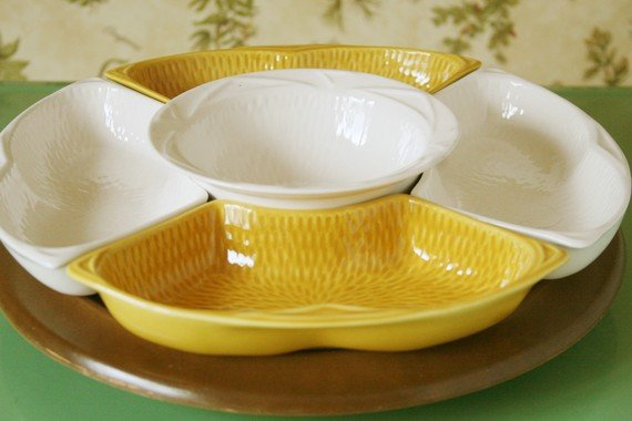 MAURICE CALIF USA Two Serving Dishes Mustard Yellow