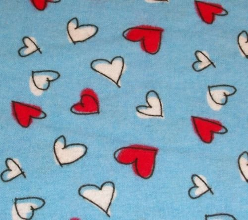 Red White Hearts Blue Flannel Fabric A. E. Nathan