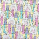 FUN CATS YELLOW HOT PINK LAVENDER FABRIC