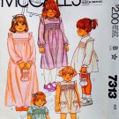 McCall's 7313 SMOCKED DRESS BAG TRANSFERS 1 Toddler