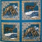 MOONLIGHT SERENADE DEER FAWN QUILT PILLOW FABRIC