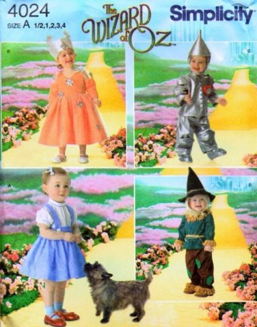 Simplicity 4024 WIZARD OF OZ COSTUMES Toddler 1/2-4