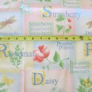 Daisy Strawberry Rosemary Dragonfly Fabric OOP
