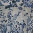 TOILE FRENCH STATUE BLUE IVORY FABRIC OOP