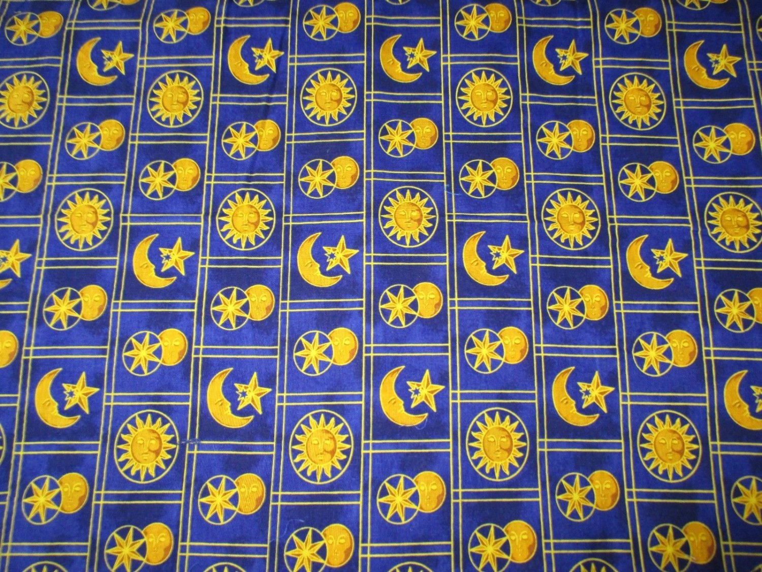Celestial spirit sun moon stars patch quilt fabric springs for Sun moon fabric
