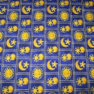 CELESTIAL SPIRIT SUN MOON STARS PATCH QUILT FABRIC SPRINGS INDUSTRIES