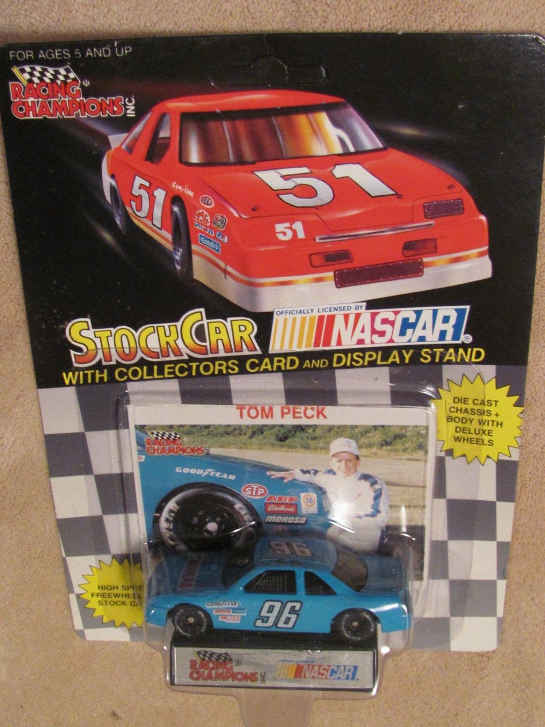 1991 NASCAR Racing Champions 1:64 TOM PECK #96 GOODYEAR STP