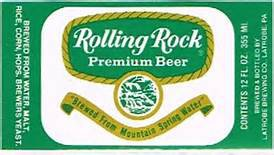 ROLLING ROCK PREMINUM BEER EMBOSSED BOTTLE 7 oz 1970