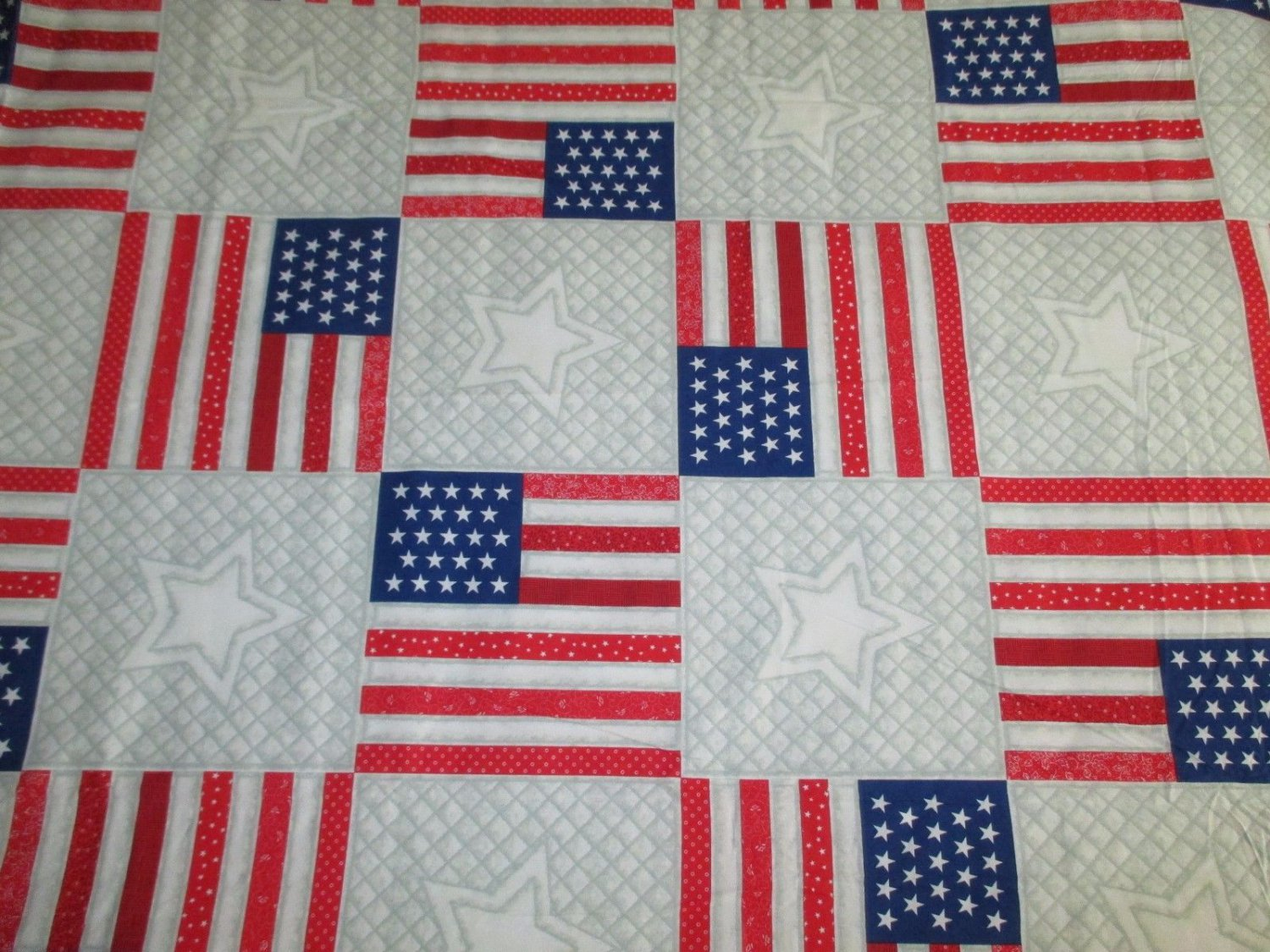 Daisy Kingdom Quilters Only 4582 FAUX FLAG & STAR QUILT Cotton Fabric