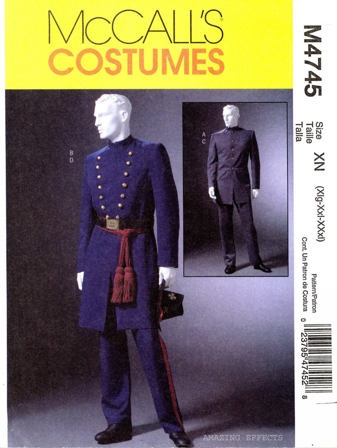 McCALL'S 4745 CIVIL WAR UNIFORM Men's XLG--XXLG-XXXLG oop
