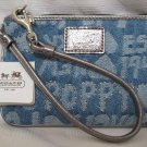 COACH NO. 45520 POPPY SIGNATURE DENIM WORD BLOCK WRISTLET - BLUE