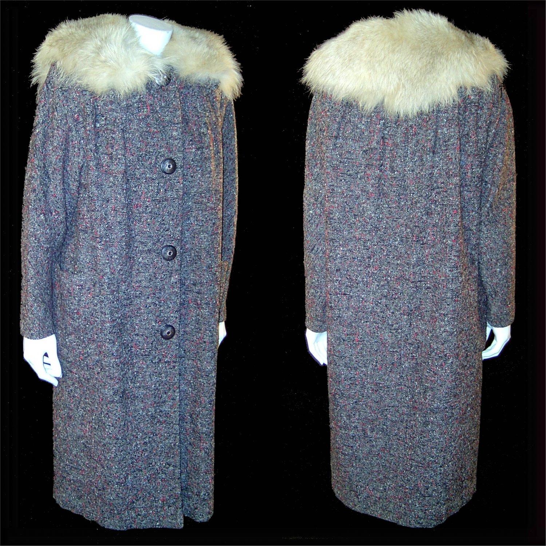 vintage 1950s coat Irish wool tweed with fox fur collar Medium
