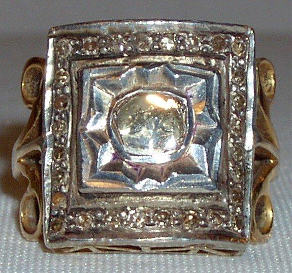 Antique 18k diamond ring Victorian mine cut 1 carat diamond, solid yellow gold